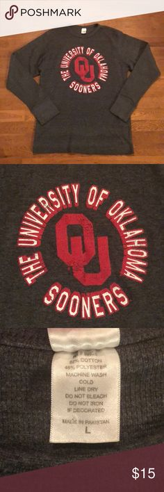 Men's OU Thermal! Yell Boomer Sooner in this long sleeved OU thermal. Shirts Tees - Long Sleeve