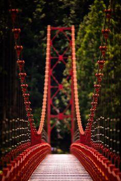 The Very Red Zaobashi Suspension Bridge in Wakayama Prefecture, Japan