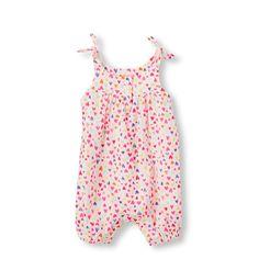 Newborn Baby Sleeveless Watercolor Heart Print Tank Romper - White - The Children's Place