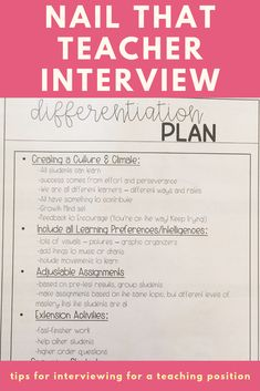 Nail That Teacher Interview. Learn tips and tricks to creating the perfect teacher interview portfolio. A great template for first year teachers for any teacher interviewing. Teaching Interview Questions, Teacher Job Interview, Teacher Interviews, Teaching Interview Outfit, Interview Tips For Teachers, Professional Development For Teachers, Job Interviews, Teaching Jobs, Teaching Strategies