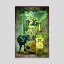Butterfly Absinthe Poster - Canvas by David Graves