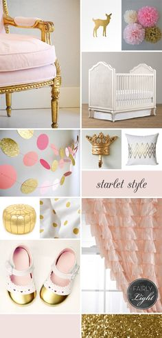 Pink & Gold Baby Girl Nursery | inspiration board | glitter | crown