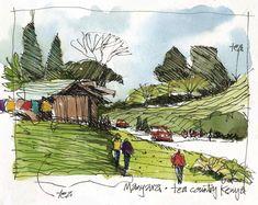 James Richards Sketchbook: Kenya: A Transformational Experience Gcse Art Sketchbook, Travel Sketchbook, Sketchbooks, Watercolor Journal, Pen And Watercolor, Cool Sketches, Drawing Sketches, Artist Journal, Landscape Drawings