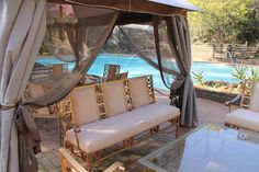 Beautiful gazebo and pool at Hornbill Lodge in South Africa.