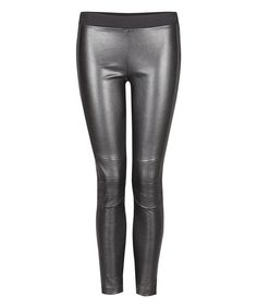 Look at this Dex Black Faux Leather Moto Leggings - Women on #zulily today!