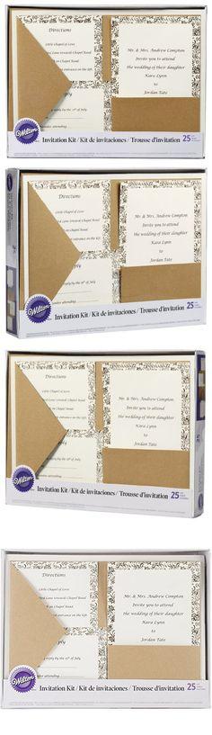 Wilton 1008 8956 Kraft Pocket Invitation Kit For Wedding, 25 Pack