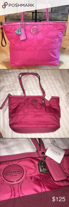 Coach Signature Stitched Tote NWT Brand new with tags. Perfect for a birthday or holiday gift. Coach Bags Totes