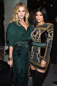 Rosie Huntington-Whiteley and Kylie Jenner wearing Balmain at BALMAIN X H&M Collection Launch Event (October 2015). #balmain