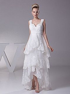 Hi Lo Organza Wedding Dress with Lace Trimmed Tiers  Debra's Floral and Bridal  Debrasfloralandbridal.com