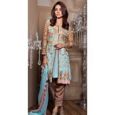 Aqua Embroidered Chiffon Dress