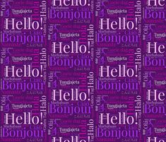 Purple World Languages fabric by hazeljae on Spoonflower - custom fabric