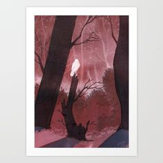 White crow in automn Art Print