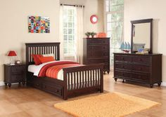 Oliver Cappuccino Twin Bed w/ Trundle, Dresser