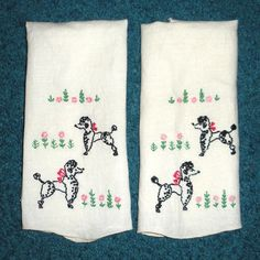 Poodle+Embroidery+on+towels+Handmade