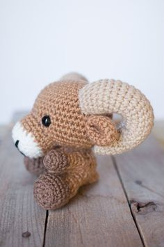 PATTERN: Crochet ram pattern - amigurumi ram pattern - crocheted ram pattern - bighorn sheep toy - PDF crochet pattern