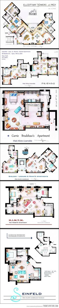 Floor plans from TV series: Frasier, F.R.I.E.N.D.S., Sex and the City, The Big Bang Theory, H.I.M.Y.M. and Seinfeld.