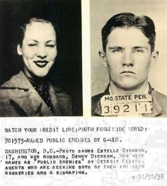 """BennieandStella Dickson (née Redenbaugh)were Depression-era outlaws and bank robbers. They successfully stole overUS $50,000 in an eight-month period from August 1938 to April 1939. A husband and wife team in the style ofBonnie and Clyde, Bennie Dickson and his newlywed wife """"Sure Shot"""" Stella began their criminal career on Stella's 16th birthday by robbing a bank inElkton, South Dakota"""