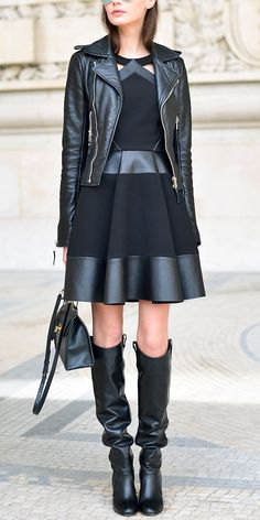 When using a leather jacket to anchor a monochromatic ensemble, look for eye-catching details like cutout spliced pieces and metal adorned accessories.
