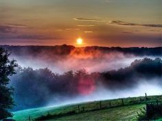 a Foggy winter sunset