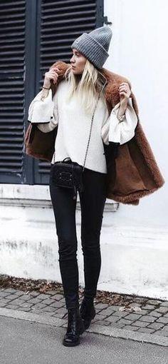 fall winter street style. fur coat.