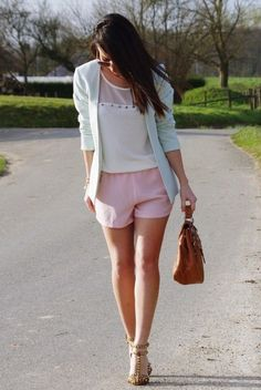 Pastel Pink Shorts 2017 Street Style