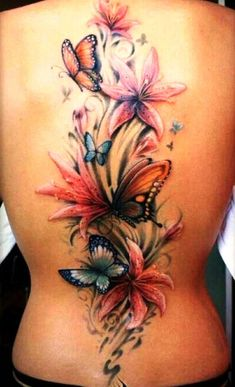 3D Butterfly and Flower Tattoos on Back