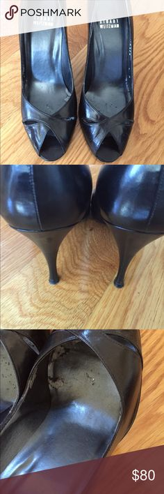Stuart Weitzman pumps Black leather peep toe pumps. These are classic shoes that never go out of style. Great for work, weddings or going out to dinner. Gently worn on the bottom of shoes and insides, but soles are in good condition. See pictures for examples. Stuart Weitzman Shoes Heels