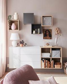 A small and elegant living room for two - IKEA Small Living Room Furniture, Small Living Rooms, Home And Living, Living Room Decor, Small Living Room Storage, Small Apartment Living, Small Apartments, Ikea Eket, Ikea Wall