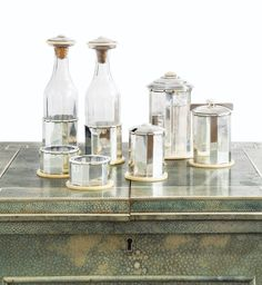 SILVER, CRYSTAL AND IVORY CONDIMENT SET, JEAN PUIFORCAT, PARIS, CIRCA 1925