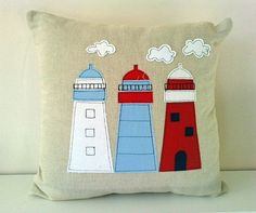 Nautical Lighthouse Cushion cover in natural linen Applique Cushions, Sewing Pillows, Pin Cushions, Applique Patterns, Applique Designs, Fabric Art, Fabric Crafts, Nautical Cushions, Baby Boy Quilts