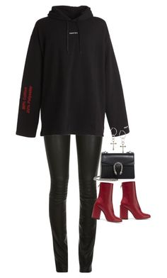 """""""Sem título #1643"""" by oh-its-anna ❤ liked on Polyvore featuring ElleSD, Vetements, Petar Petrov, Gucci and Lucky Brand"""