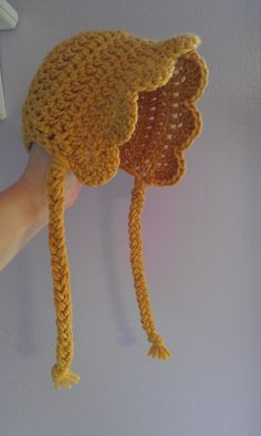Crochet Baby Bonnet with Scalloped Edge and Braided Tails