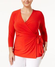 Anne Klein Plus Size Faux-Wrap Top