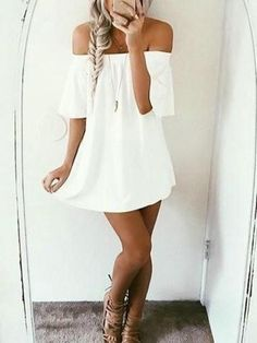 Cute White Solid Off The Shoulder Dress