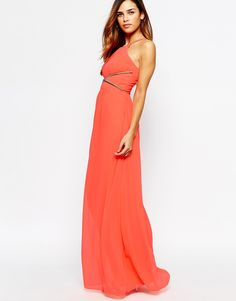 Lipsy High Neck Maxi Dress With Chain Waist Detail