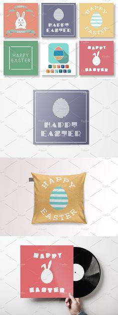 Happy Design, Creative Lettering, Happy Easter, Adobe Illustrator, Color Change, Banners, Postcards, Archive, Vibrant