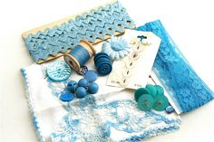 Blue Sky For Spring Vintage Sewing Notions by Birdnestsandpaper