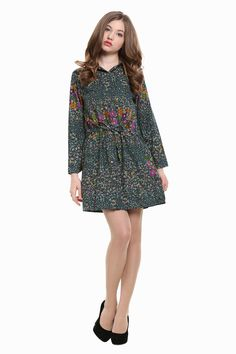 This item is shipped immediately, including the weekends. This shirtdress features a vintage-looking floral print. It has a fairly tailored design and long sleeves, a front button, stretch waist. Flor