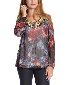 Look at this #zulilyfind! Red & Black Paisley Beaded Scoop Neck Top by Simply Irresistible #zulilyfinds
