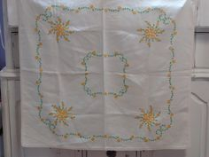 Vintage Hand Embroidered Card table Size Table Cloth-End table- -Flowers and Baskets - Linens by starspatternstore on Etsy