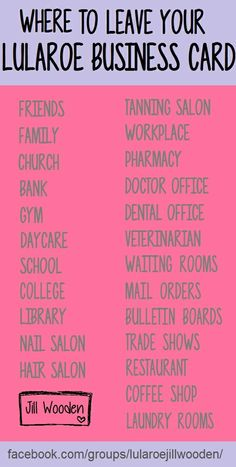 40 places to leave a lularoe business card visit our facebook group cbbf6f6dde20aeef719f830c5e1870f8 joy lularoe lularoe business ideasg colourmoves