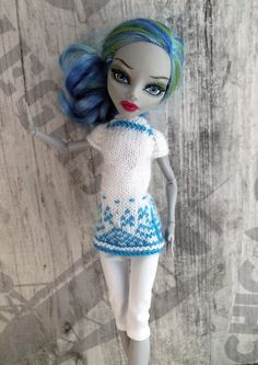 Christmas 3-pieces Outfit for MH dolls. White от OrdaliaHandwork