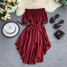 Summer Casual Chiffon Off Shoulder Bandage Dress Casual Summer Dresses, Cute Casual Outfits, Stylish Dresses, Pretty Outfits, Pretty Dresses, Stylish Outfits, Beautiful Dresses, Cute Dress Outfits, Girls Fashion Clothes