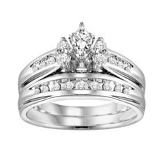 Cherish Always Marquise-Cut Diamond Engagement Ring Set in 14k White Gold (1/2 ct. T.W.)