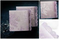 18 Spitze einladungen zur hochzeit violett elegant klassisch Spitze Einladungen zur Hochzeit – verschiedene Farbe, verschiedener Charme