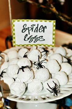 Spider eggs treat for bug themed party. Powdered donut holes for spider eggs at a bug themed birthday party or for Halloween Party. Soirée Halloween, Halloween Goodies, Halloween Food For Party, Halloween Birthday, Holidays Halloween, Halloween Treats, Bug Party Food, 4th Birthday, Birthday Ideas