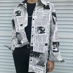 Gothic Rap Hip Hop English Newspaper Letter Print Loose Long Blouse Ov – geekbuyig Source by lissebloms fashion Hipster Outfits, Grunge Outfits, Edgy Outfits, Hipster Style, Formal Outfits, Curvy Outfits, Swag Outfits, Urban Outfits, Work Outfits