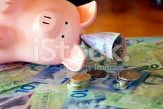 New Zealand Money (NZD); Dollars & Coins with a Piggy Bank royalty-free stock photo Image Now, New Image, Kiwiana, Dollar Coin, My Portfolio, Piggy Bank, New Zealand, Coins, Royalty Free Stock Photos
