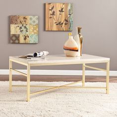 Upton Home Ogden Travertine Faux Stone Coffee Table #coffeetabledesign modern coffee table #whiteandgolddesign white and gold coffee table #livingroomdesign the living room . See more at www.coffeeandsidetables.com