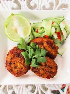 Low FODMAP and Gluten Free Recipe - Thai fishcakes with cucumber salad    http://www.ibssano.com/low_fodmap_recipe_thai_fishcakes_cucumber_salad.html